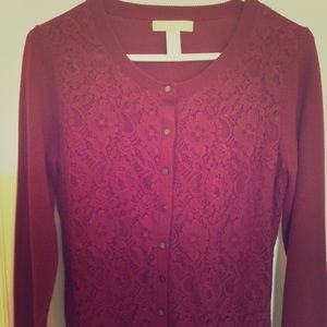 Banana Republic Burgundy M Lace Merino Cardigan